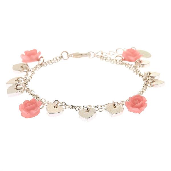 Claire's - silver rose heart charm bracelet - 2