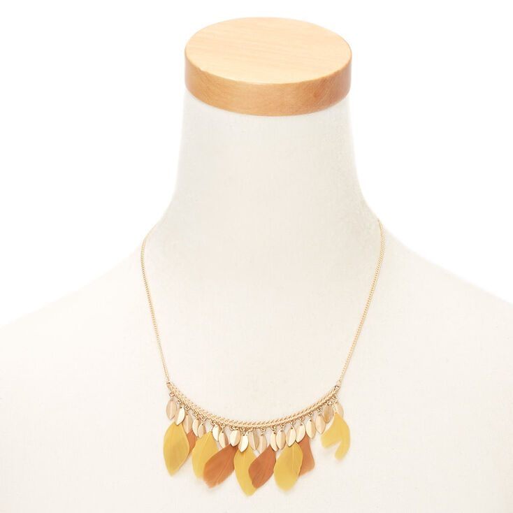 Gold Feather Bar Statement Necklace - Yellow,