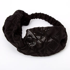 Aztec Mesh Twisted Headwrap - Black,