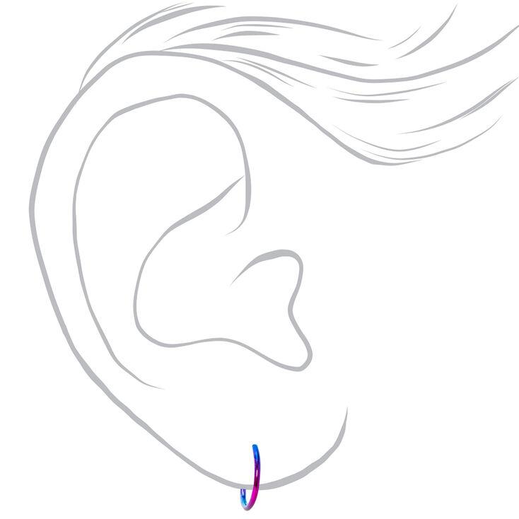 Silver 12MM Anodised Rainbow Hoop Earrings,
