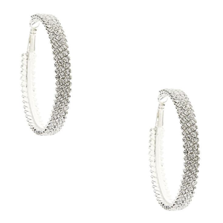 Silver-tone Triple Row Faux Crystal Hoop Earrings,