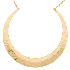 Gold Hammered Collar Choker Necklace,