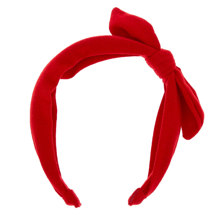 Jersey Solid Bow Headband - Red,