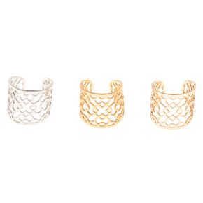 Mixed Metal Filigree Ear Cuffs - 3 Pack,