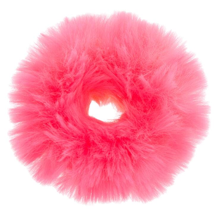 Medium Faux Fur Hair Scrunchie - Neon Pink,