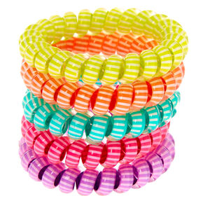 Claire's Club Striped Spiral Hair Ties - 5 Pack,