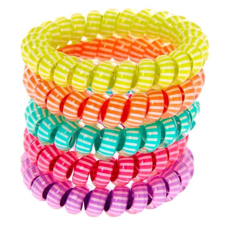 Claire's Club Striped Coil Bracelet Set - 5 Pack,