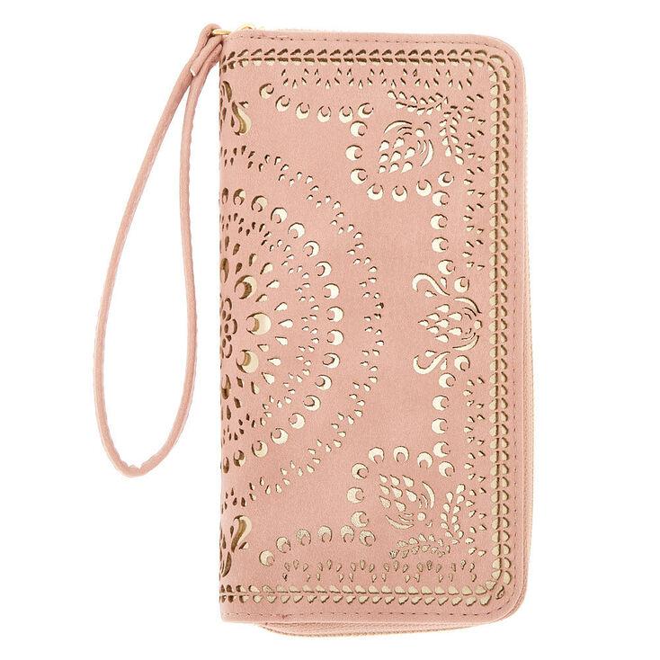 Gold Filigree Cut Perforated Wristlet - Pink,