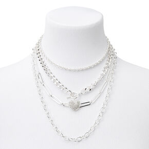 Silver Heart Toggle Chain Multi Strand Necklace,