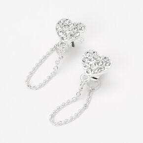 Silver Heart Front and Back Chain Stud Earrings,