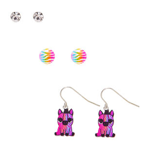 Rainbow Zebra Mixed Earring Set - 3 Pack,