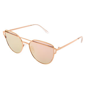 Brow Bar Mirrored Aviator Cat Eye Sunglasses - Gold,
