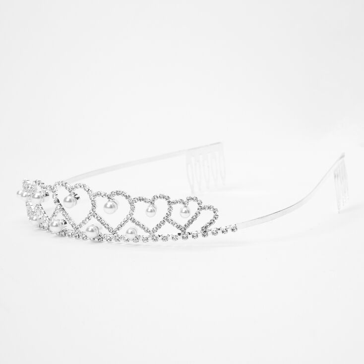Silver Rhinestone Pearl Queen Of Hearts Tiara,