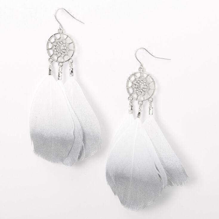 """Silver 3.5"""" Metallic Dreamcatcher Drop Earrings - Grey,"""