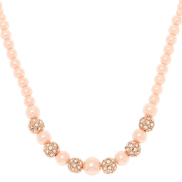 Claire's - rose fireball pearl statement necklace - 1