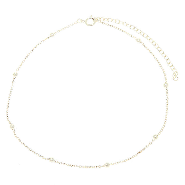 Sterling Silver Beaded Anklet,