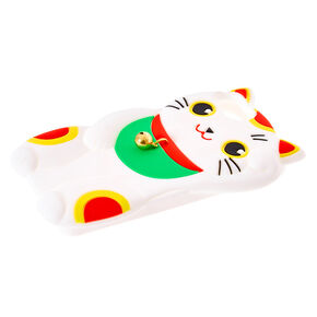 White Lucky Cat Silicone Phone Case - Fits iPhone 6/7/8/SE,