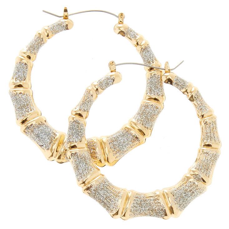 Glitter Bamboo Hoop Earrings