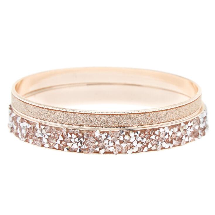 Rose Gold Stone & Glitter Bangle Bracelets - 2 Pack,