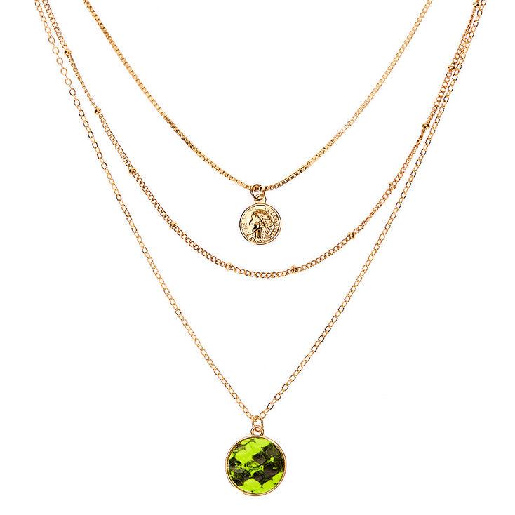 Gold Neon Snakeskin Multi Strand Necklace,
