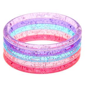 Claire's Club Glitter Bangle Bracelets - 5 Pack,