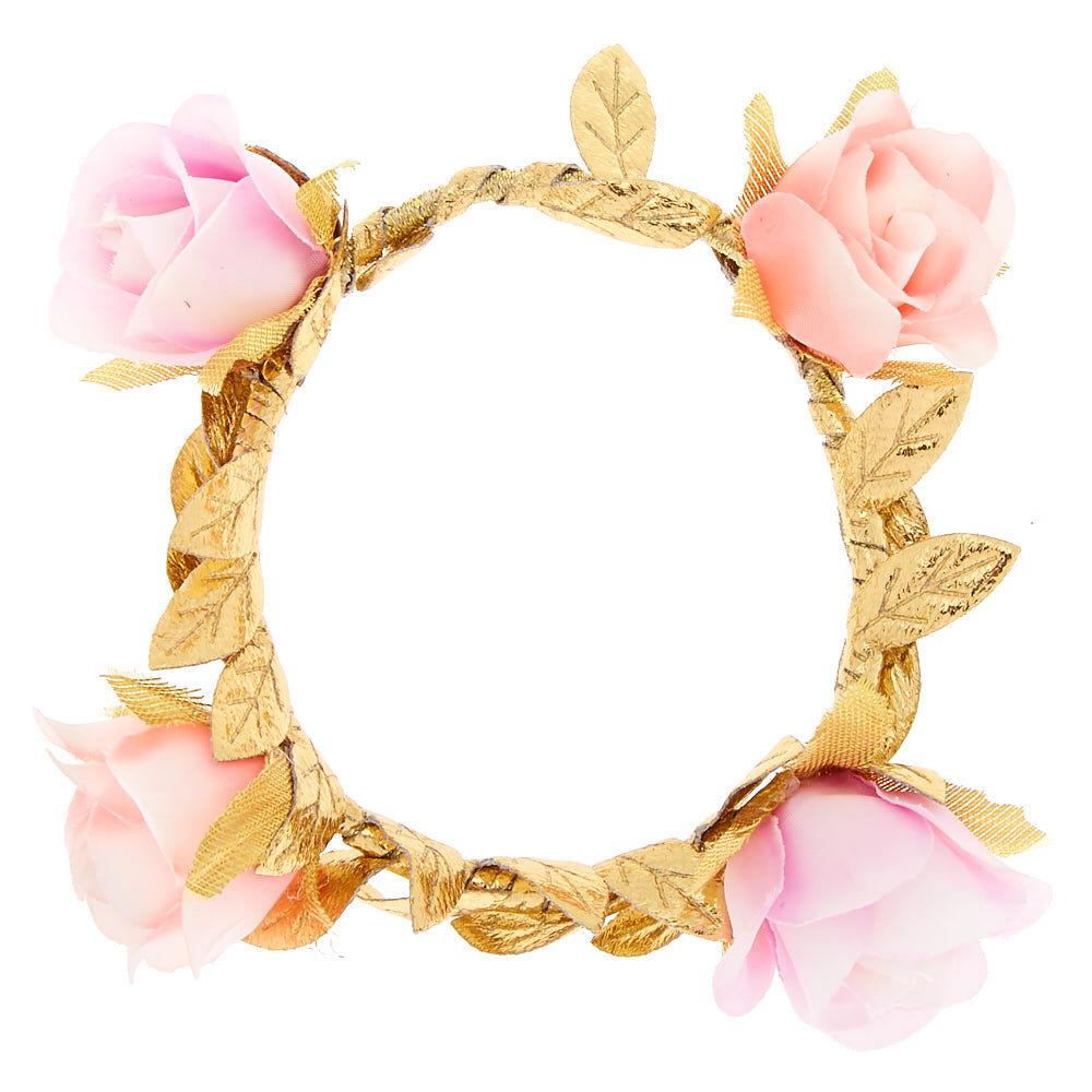 Élastique à cheveux rose avec fleur et vigne style enchanteur