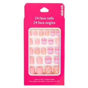Floral Chevron Square Press On Faux Nail Set - Pink, 24 Pack,