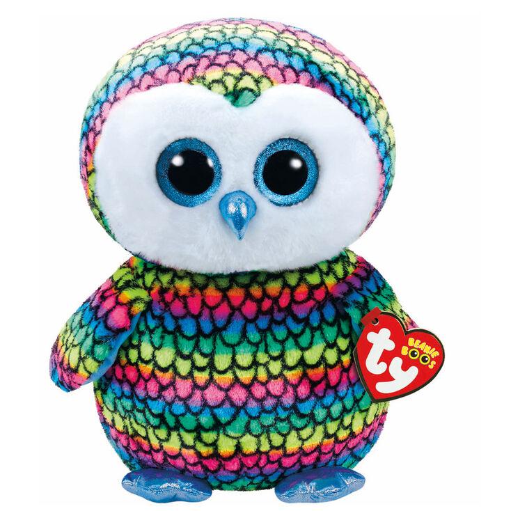 Ty Beanie Boo Large Aria the Rainbow Owl Plush Toy  b9bd4daeb189