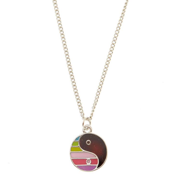 Rainbow yin yang mood pendant necklace claires us rainbow yin yang mood pendant necklace aloadofball Gallery