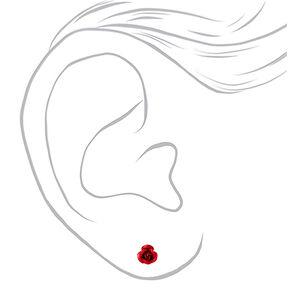 Clous d'oreilles motif rose en argent - Rouge,