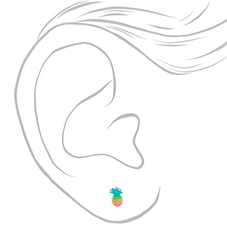 Silver Pastel Rainbow Pineapple Stud Earrings,