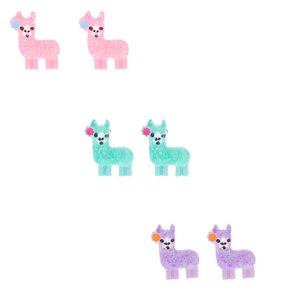 Glitter Llama Stud Earrings - 3 Pack,