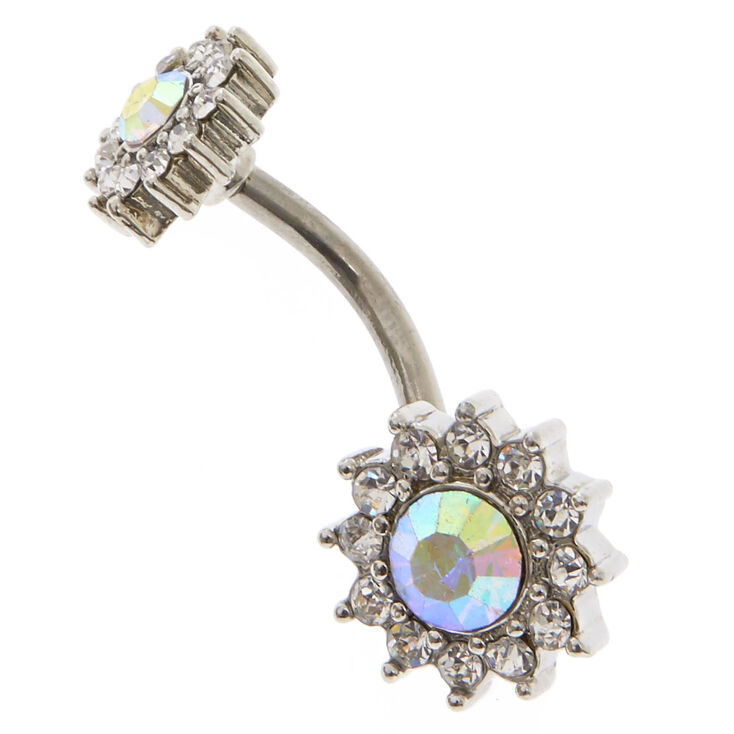 Silver 14G Iridescent Stone Halo Flower Belly Ring,