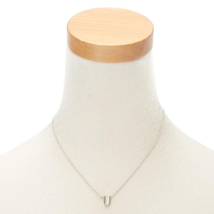 Silver Stone Initial Pendant Necklace - U,