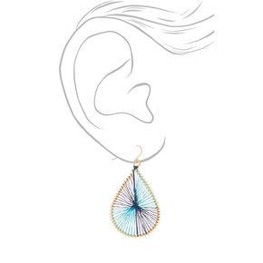 """Gold 2"""" Teardrop Threaded Drop Earrings - Turquoise,"""