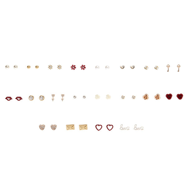 Claire's - 20 pack lots of love stud earrings - 1