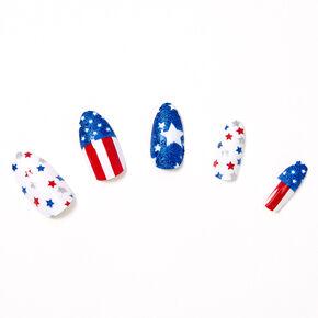 USA Stars & Stripes Stiletto Press On Faux Nail Set - 24 Pack,