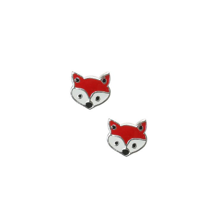 Sterling Silver Fox Stud Earrings,