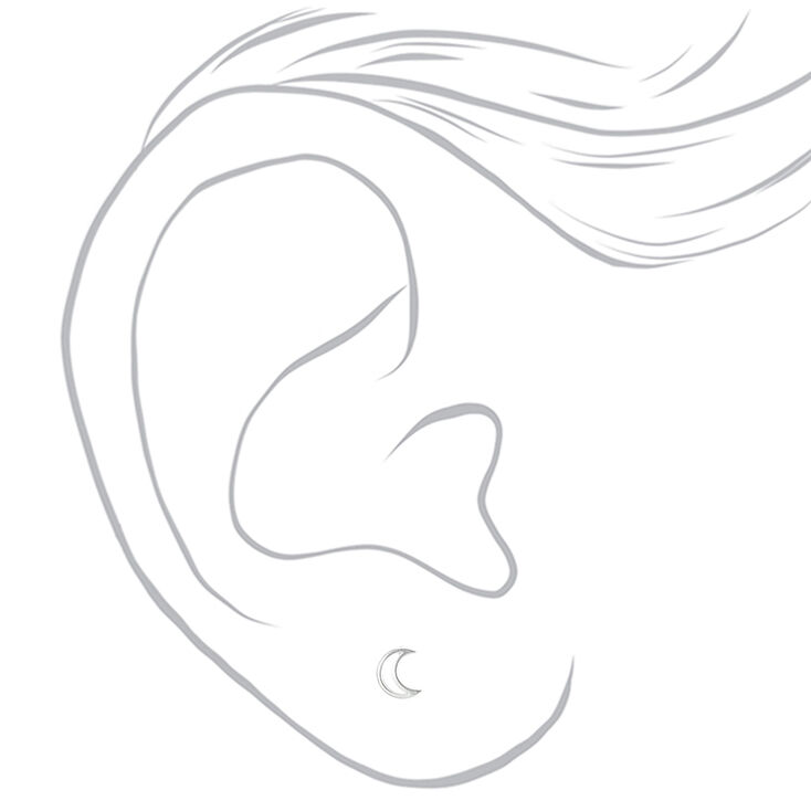 Sterling Silver Crescent Moon Stud Earrings,