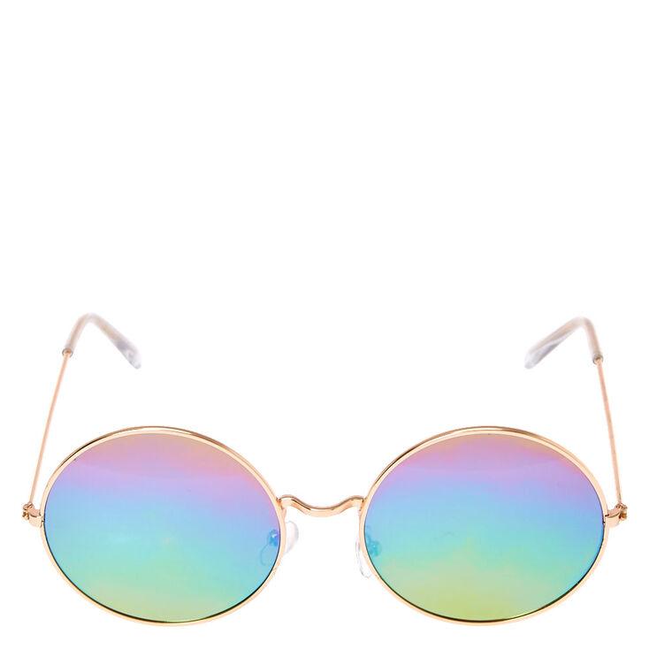 Mirrored Round Rainbow Sunglasses,