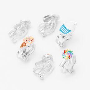 Silver Sweet Treats  Clip On Earrings - 3 Pack,