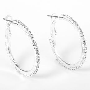Silver 30MM Rhinestone Hoop Earrings,