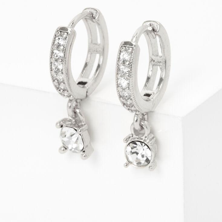 Silver 10MM Crystal Drop Huggie Hoop Earrings,