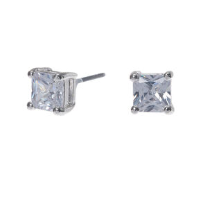Silver Cubic Zirconia Square Stud Earrings - 5MM,