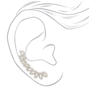 "Silver 1.5"" Crystal Fan Ear Crawler Earrings,"