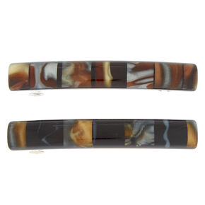 Neutral Tile Hair Barrettes - Brown, 2 Pack,