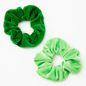 Medium Velvet Hair Scrunchies - Green, 2 Pack,