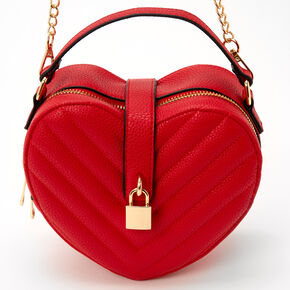 Quilted Heart Chain Crossbody Bag - Red,