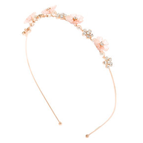 Rose Gold Frosted Floral Headband - Pink,