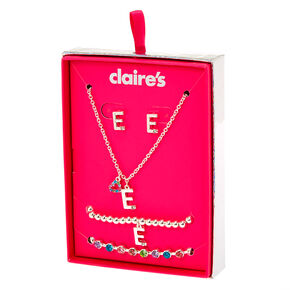 Go to Product: Silver Rainbow Initial Jewellery Gift Set - E, 4 Pack from Claires